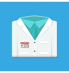 Folded doctors lab white coat with badge vector