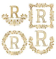 golden r letter ornamental monograms set heraldic vector image