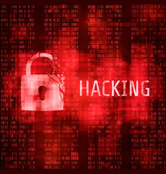 hacking hacker cyber attack hacked program on vector image