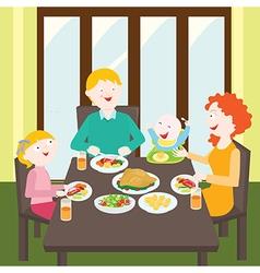 Happy family dinner vector image