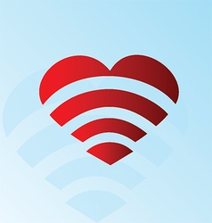 Heart Wi-Fi symbol vector image vector image