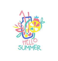 hello summer logo original design label for vector image