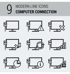 Line icons set - computer connection vector
