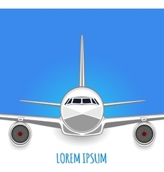 Passenger plane on white - blue background vector image