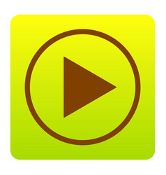Play sign brown icon at vector