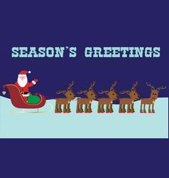 Santa and reindeer seasons greetings graphic vector