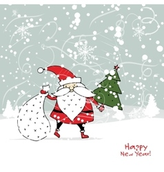 Santa claus in winter forest christmas card vector