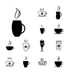 Set of different coffee cup icons vector