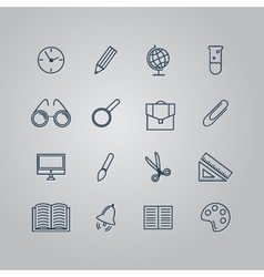 Set of line icons back to school school supplies vector