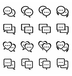 Speech bubbles icon set vector image