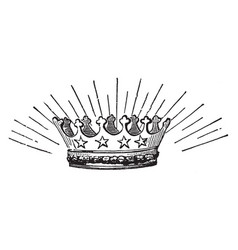 Starry crown with four stars vintage engraving vector