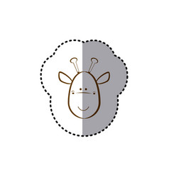 Sticker with brown line contour of face of giraffe vector