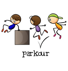 Stickmen playing parkour vector