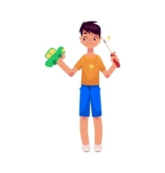 Teenage boy holding screwdriver trying to fix vector
