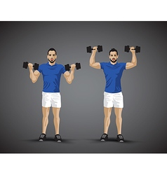 training shoulder press trio vector image