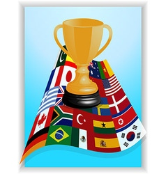 Trophy on world flags panel vector image vector image