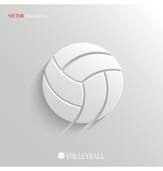 Volleyball icon - white app button vector