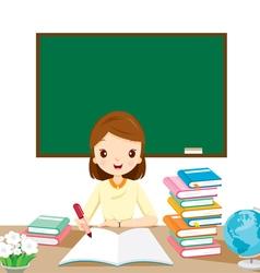 Woman teachers checking homework on table vector