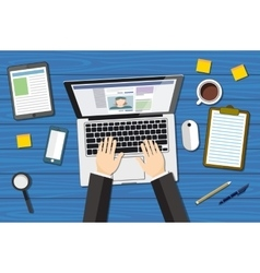 workplace - top view - flat design - laptoop blue vector image