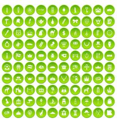 100 crown icons set green circle vector