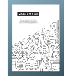 Welcome to china - line design brochure poster vector