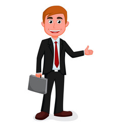happy businessman presenting vector image