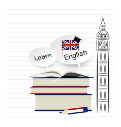Learn english education design on white paper vector