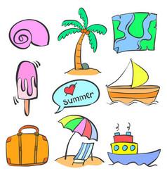 Summer element cartoon doodle style vector