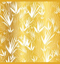 Golden on white asian bamboo leaves vector