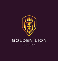 golden lion logo vector image
