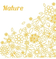 Natural card with beautiful flowers beetles and vector