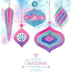 Watercolor baubles vector
