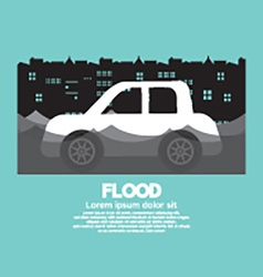Cars side view in a flood vector