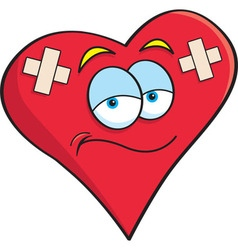 Cartoon heart with bandages vector