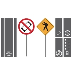 Set shows road traffic pedestrian signs vector