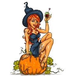 Witch with pumpkin cocktail isolated vector image