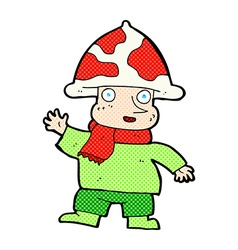 Comic cartoon mushroom man vector