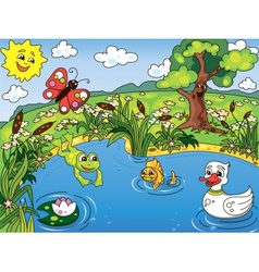 Pond life vector