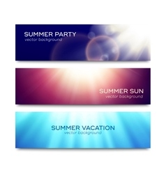 Set of horizontal banners with sun rays vector