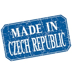 Made in czech republic blue square grunge stamp vector