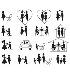Icons family and children vector