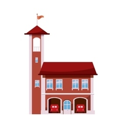 Fire station with tower icon cartoon style vector