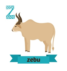 Zebu z letter cute children animal alphabet in vector