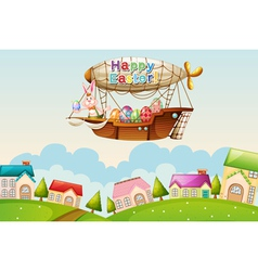 An airship above the hills with an easter greeting vector image vector image