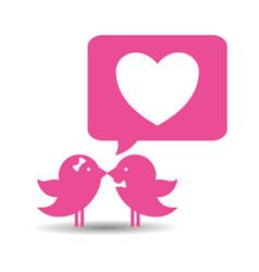 Bird couple married bubble speech heart card vector