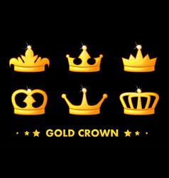 cartoon golden crown icons vector image