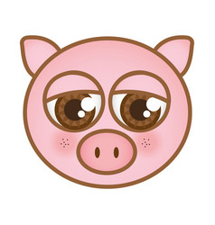Cartoon pig animal head expression vector
