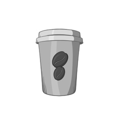 Cup of coffee icon black monochrome style vector image