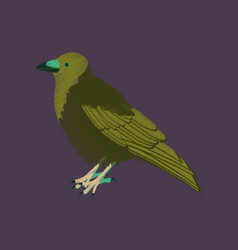 Flat shading style icon raven vector