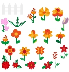 Flower set in a flat style Flower set Spring vector image vector image